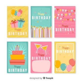 Belle série de cartes d'anniversaire
