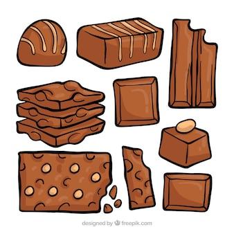 Belle série de chocolats dessinés à la main