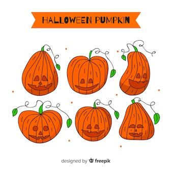 Belle série de citrouilles d'halloween dessinés à la main