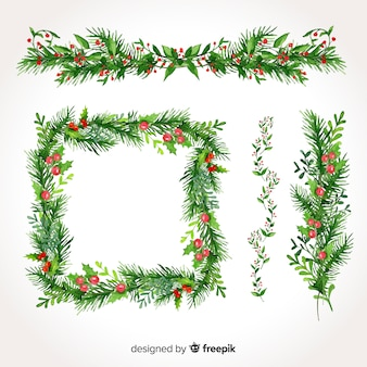 Belle série de bordures et cadres de Noël