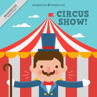 Belle showman avec un chapiteau de cirque fond