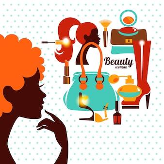 Belle silhouette de femme avec des icônes de la mode. fille commerçante. design élégant et élégant