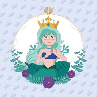 Belle sirène avec la couronne et les algues rond cadre vector illustration graphisme