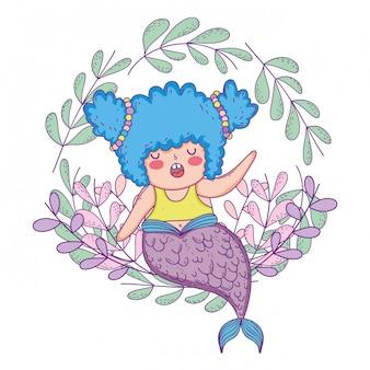 Belle sirène avec couronne de feuilles