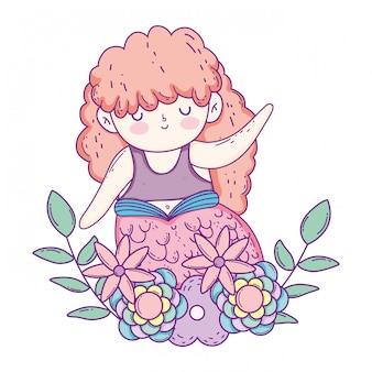 Belle sirène avec des fleurs en guirlande