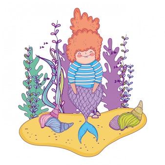 Belle sirène avec un personnage de conte de fées d'algues