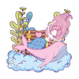 Belle sirène avec le personnage de conte de fées de narval