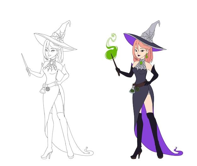 Belle sorcière anime tenant une baguette magique