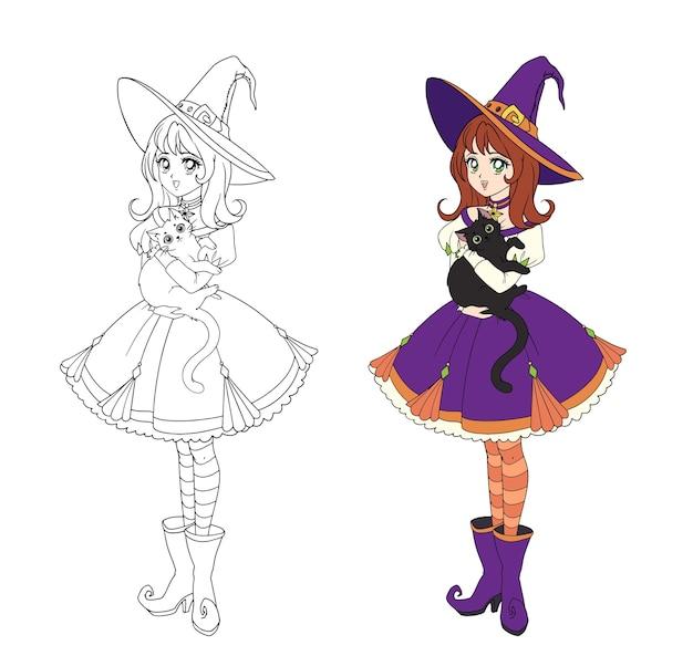 Belle sorcière anime tenant un chat noir. cheveux roux, robe violette et grand chapeau. illustration dessinée à la main pour cahier de coloriage. isolé sur blanc