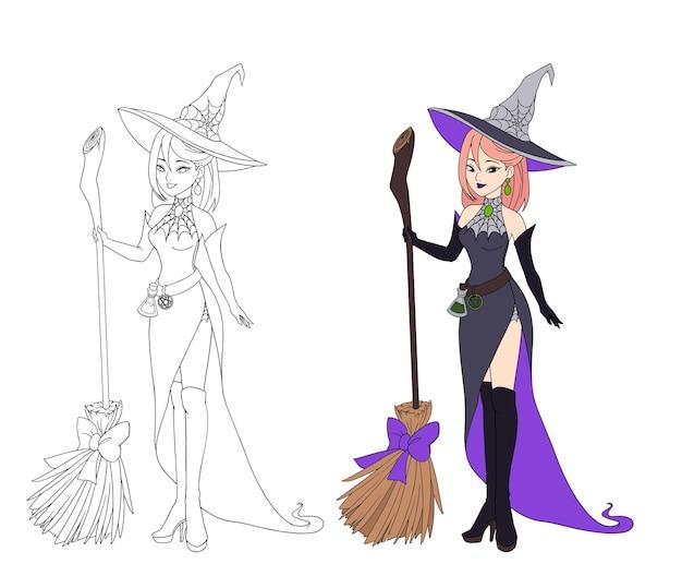 Belle sorcière de dessin animé tenant un balai en bois