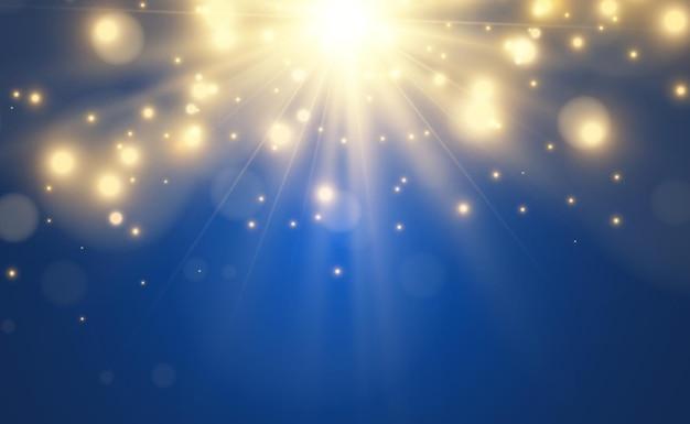 Belle starillustration lumineuse d'un effet de lumière sur transparent