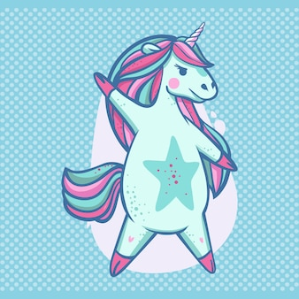 Belle superstar de licorne dansante bleue