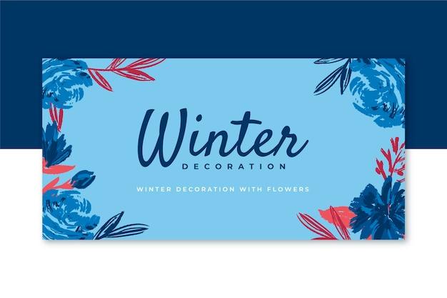 Belle en-tête de blog d'hiver avec des fleurs