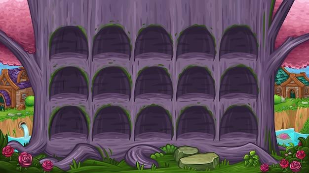 Belle vallée avec arbre violet magique