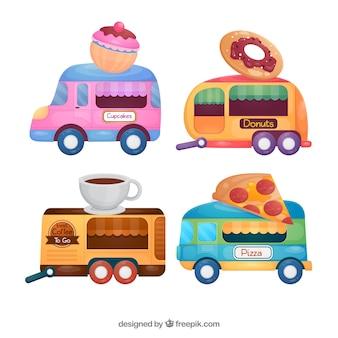 Une belle variété de camions à plat