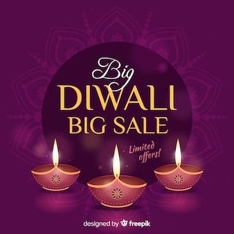 Belle vente de diwali en design plat