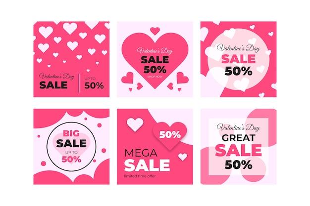 Belle vente de la saint-valentin instagram post collection