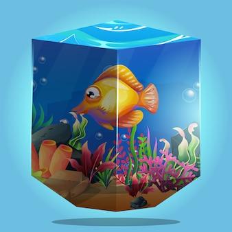 Belle vie marine avec différents types de récifs coralliens et poissons colorés avec concept 3d