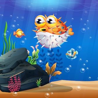 Belle vie marine avec différents types de récifs coralliens et poissons colorés