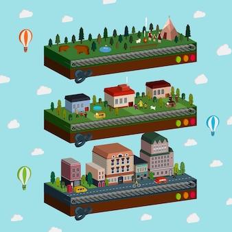 Belle ville et banlieue scène infographie isométrique 3d sur bleu