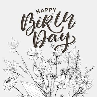Belle voeux de joyeux anniversaire avec des fleurs
