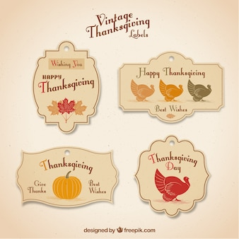 Belles autocollants de thanksgiving de cru