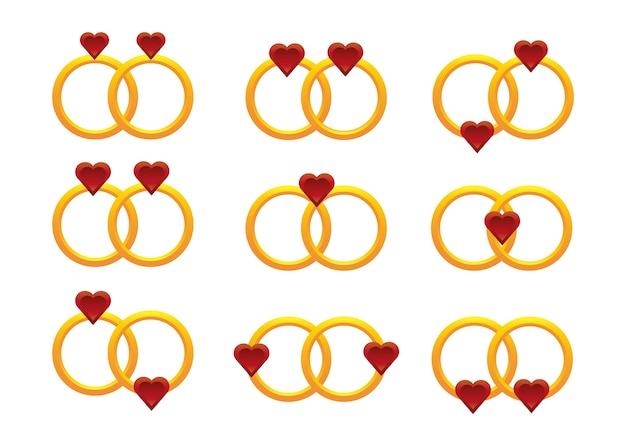 Belles bagues de fiançailles en or 3d
