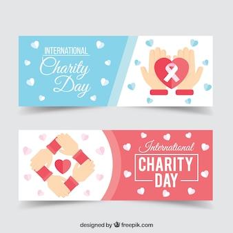 Belles bannières avec des coeurs de jour de charité