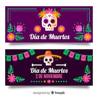 Belles bannières de dia de muertos