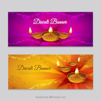 Belles bannières de festival de diwali