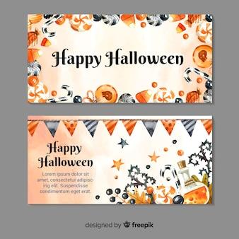 Belles bannières halloween aquarelle
