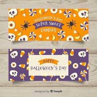 Belles bannières d'halloween dessinées à la main