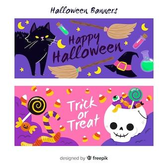 Belles bannières d'halloween