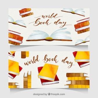 Belles bannières de jour aquarelle livre du monde