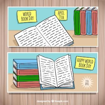 Belles bannières de jour de livre du monde dessinés à la main