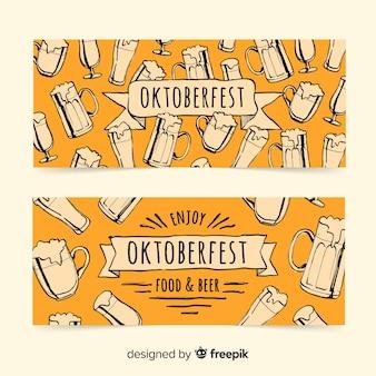 Belles bannières oktoberfest dessinées à la main