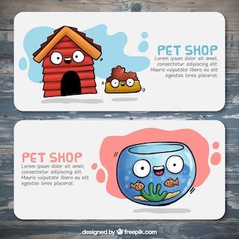 Belles bannières pour un magasin pour animaux de compagnie
