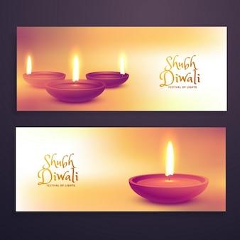 Belles bannières publicitaires de la saison de diwali fixés avec diya réaliste