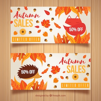 Belles bannières de vente automne avec un style moderne