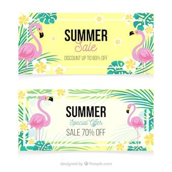 Belles bannières de vente d'été