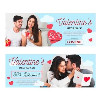 Belles bannières de vente de la saint-valentin avec photo