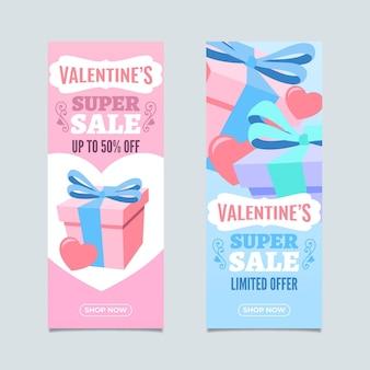 Belles bannières de vente verticales de la saint-valentin