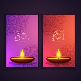 Belles bannières verticales diwali heureux avec diya incandescent et motif de mandala