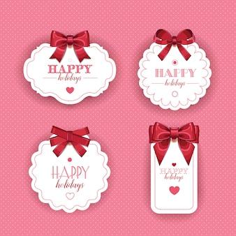 Belles cartes avec des arcs de cadeaux et ruban