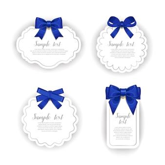 Belles cartes avec collection d'arcs cadeaux
