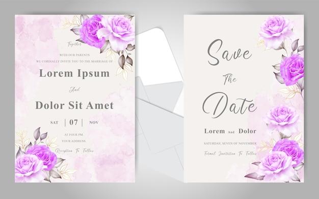 Belles cartes d'invitation de mariage avec floral aquarelle élégant