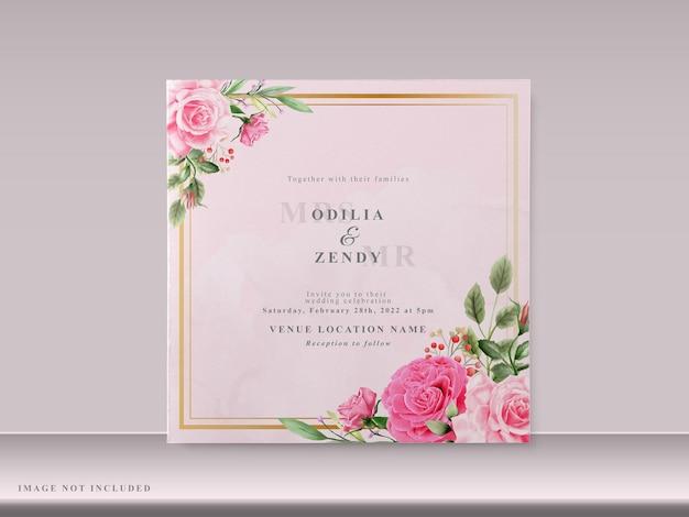 Belles cartes d'invitation de mariage avec floral rose dessiné à la main