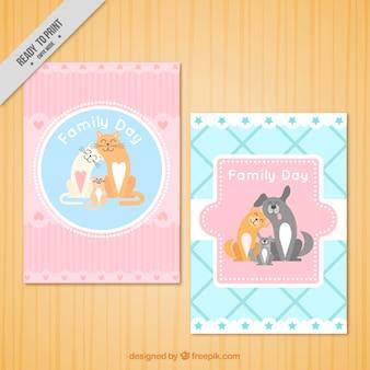 Belles cartes de jour de la famille avec les animaux de compagnie