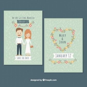 Belles cartes de mariage de cru