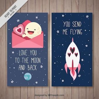 Belles cartes avec des messages romantiques